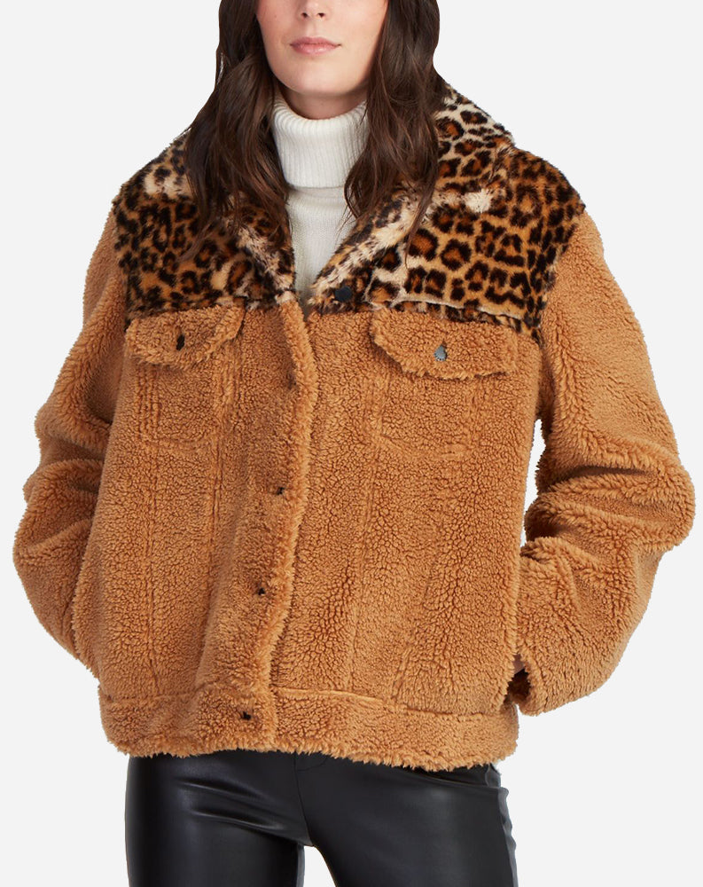 Camel Teddy Jacket w/ Faux Leopard Detail in Tan