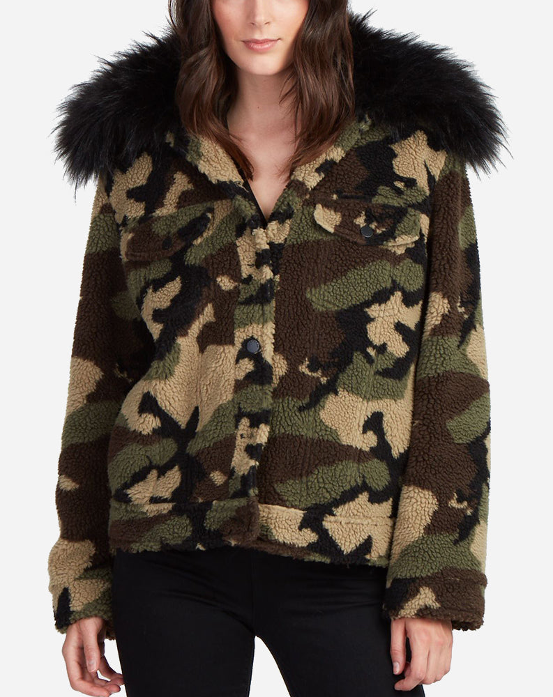 Faux Silver Fox Teddy Jacket in Camo