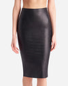 Faux Leather Midi Skirt in Black