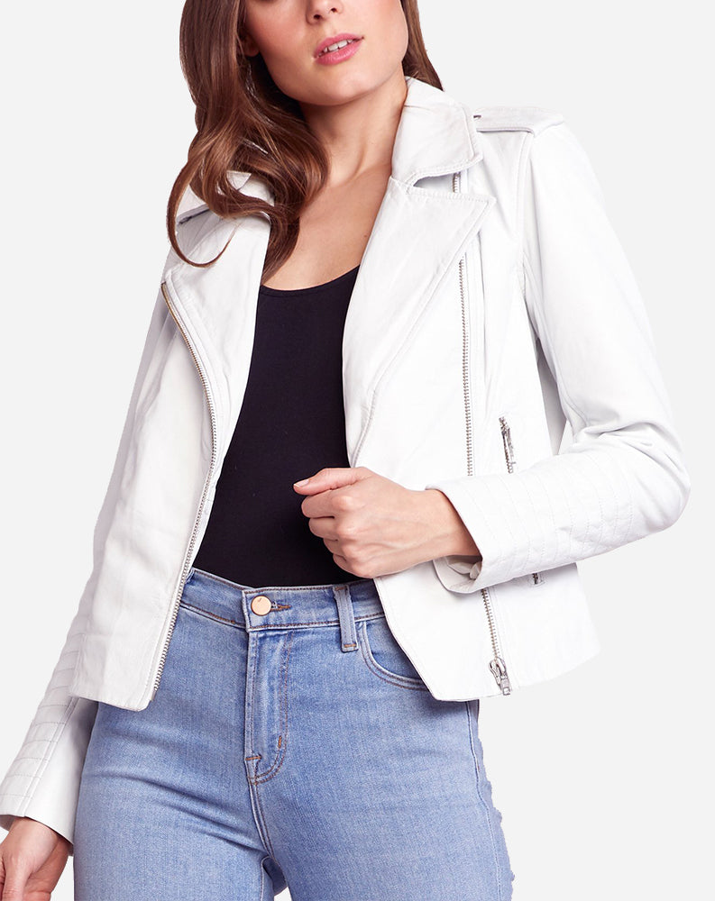 Hello Moto Leather Jacket in White