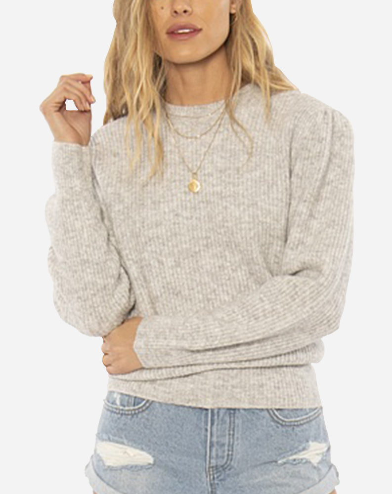 Florence Knit Sweater in Heather Grey
