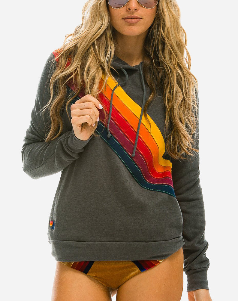 Cross Stripe Pullover Hoodie in Vintage Charcoal