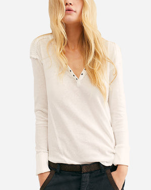Military Mix Henley in Ivory Combo