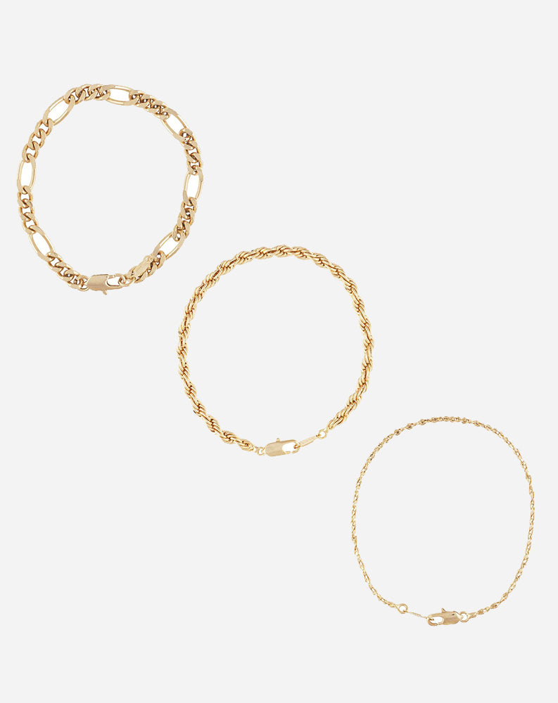 Triple Crown Bracelets in 24K Gold Triple Plated (Set of 3)