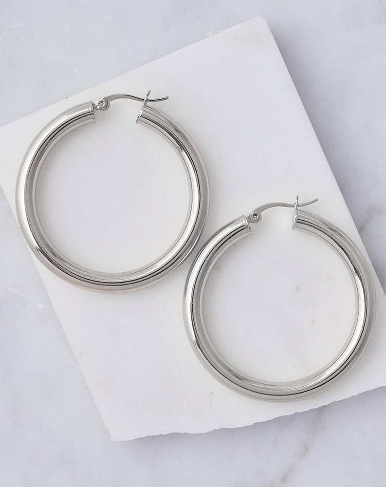 Sasha Rhodium Plated Hoops in Rhodium
