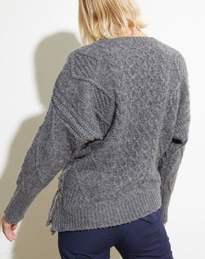 Skyla Side Tie Crew Neck in Grey
