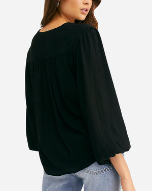Check On It Wrap Top in Black