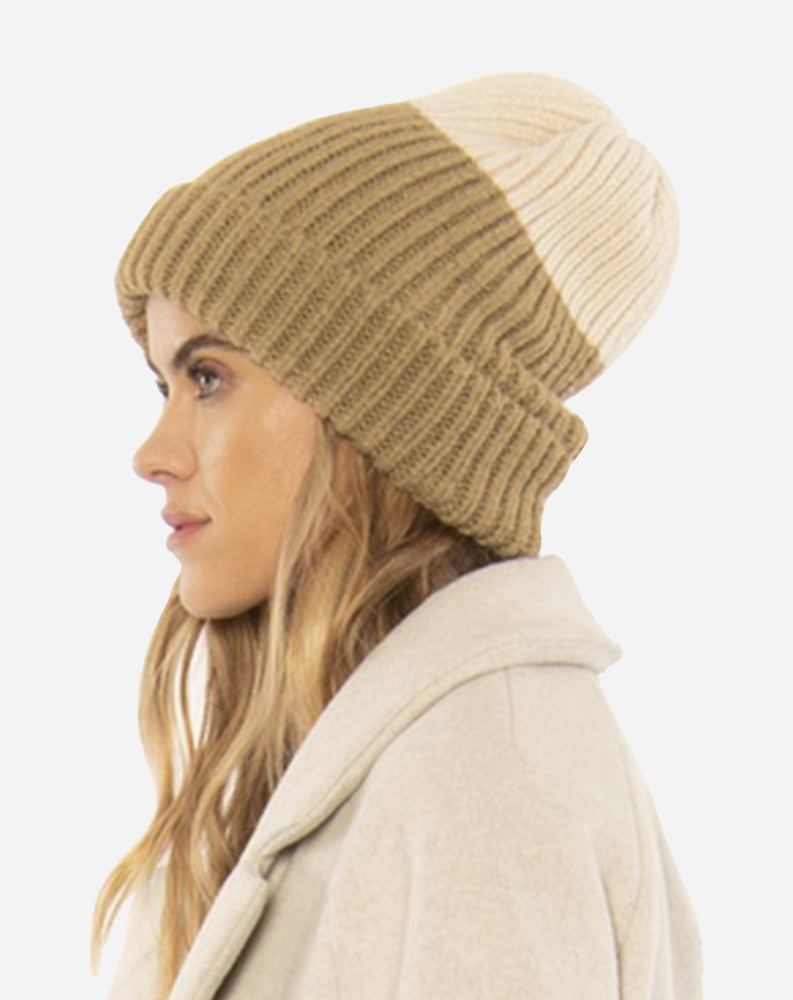 Block Party Knit Beanie in Sand/Brown