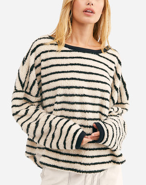 Breton Striped Pullover in Eggnog Combo
