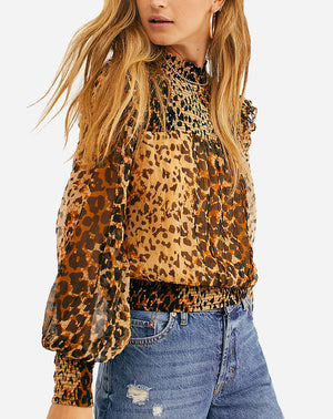 Roma Blouse in Brown Leopard Combo