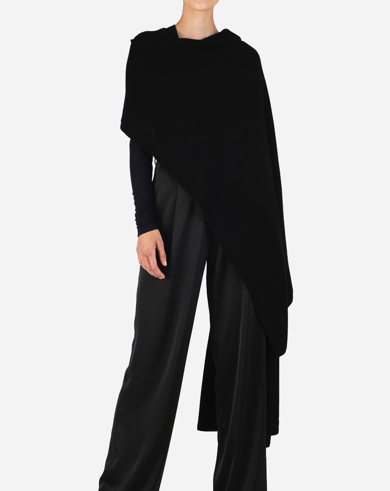 Cashmere Blend Sweater Cape in Black