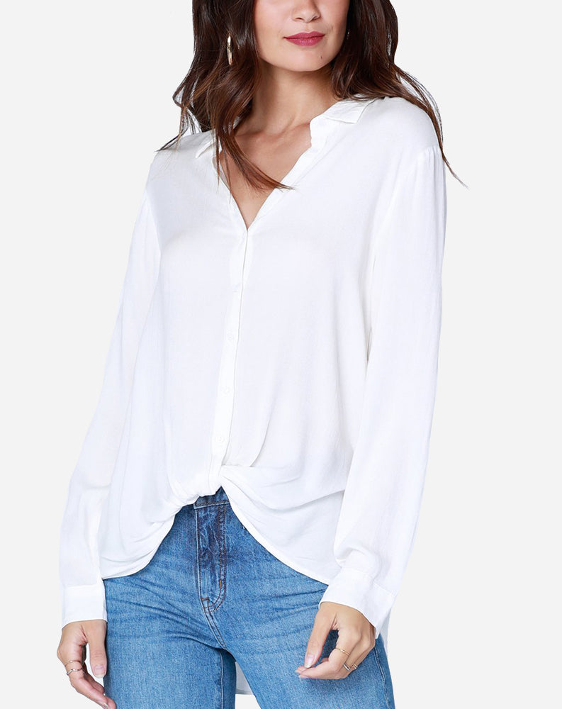 Longsleeve Button Up Twist Shirt in Ivory