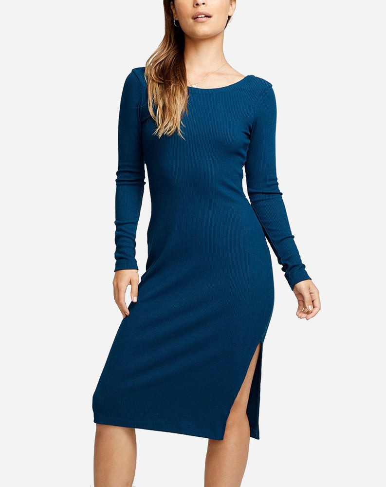 Longsleeve Scoop Back Bodycon Midi Dress in Amalfi