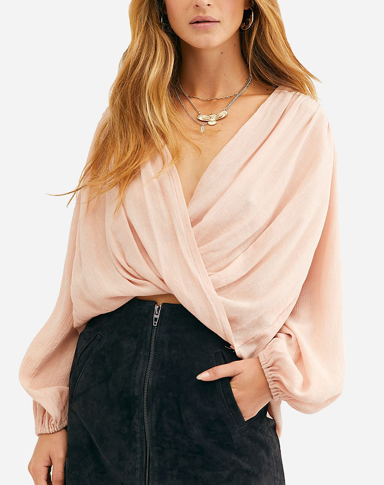 Check On It Wrap Top in Pink Nectar