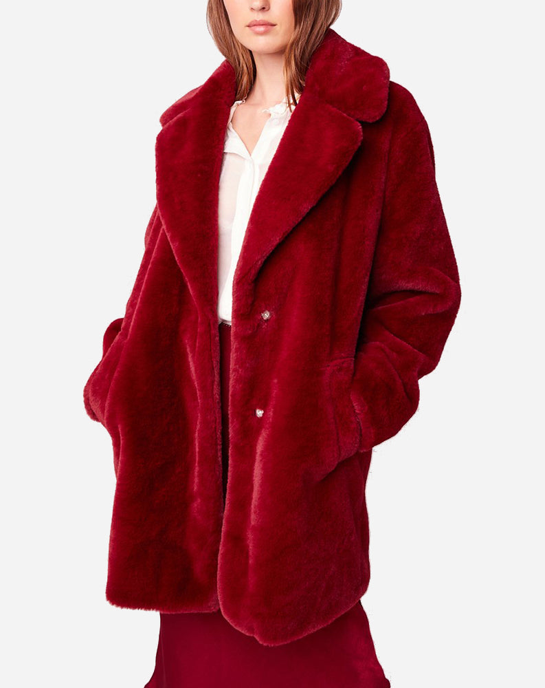 Beau Faux Fur Jacket in Scarlet