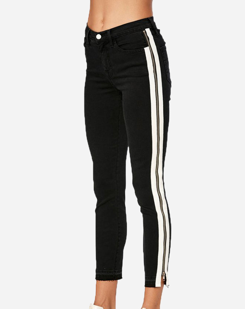 Full Side Zip Ribbon Skinny in Black