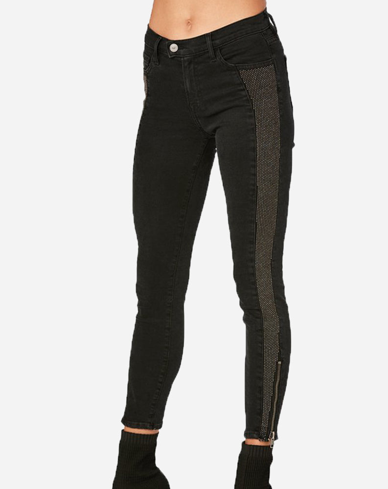 Panel Studded Zip Skinny in Black