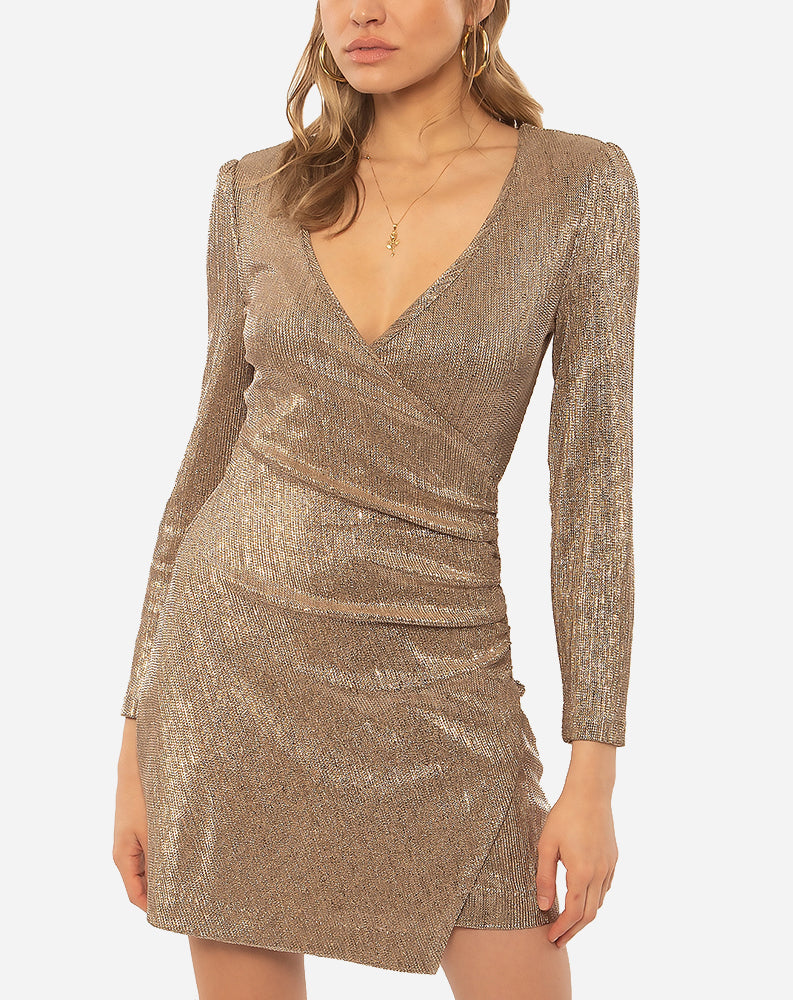 Last Dance Longsleeve Knit Dress in Champagne