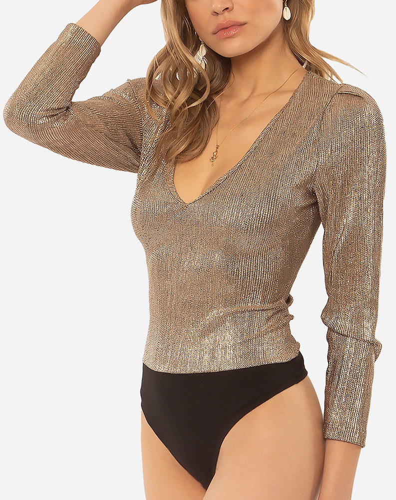 Midnight Longsleeve Knit Bodysuit in Champagne