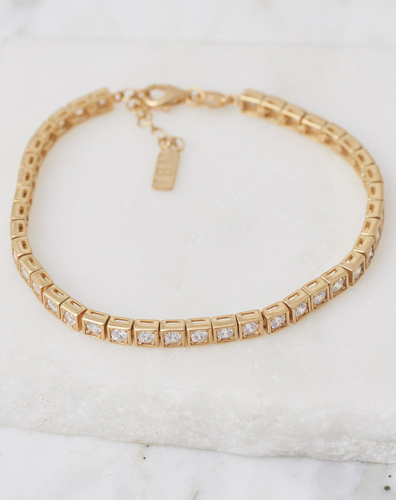 Le Tennis Bracelet in 14K Gold Plated w/ CZ