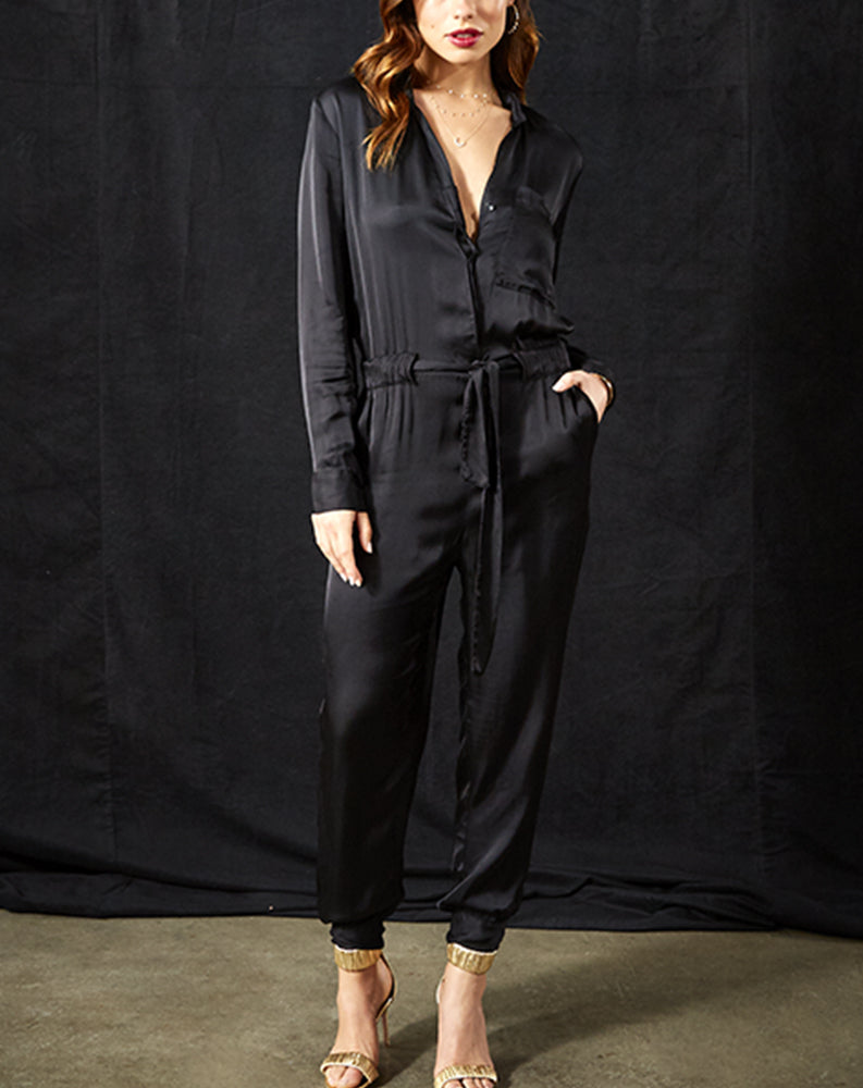 Stacey Jumpsuit in Black Solid
