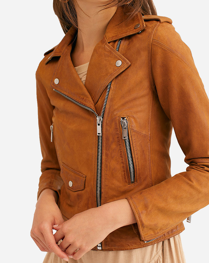Connie Leather Moto Jacket in Habano