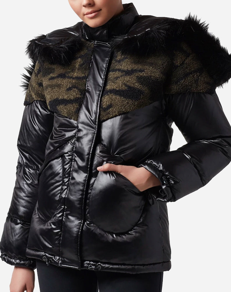 Camo Sherpa Puffer in Black