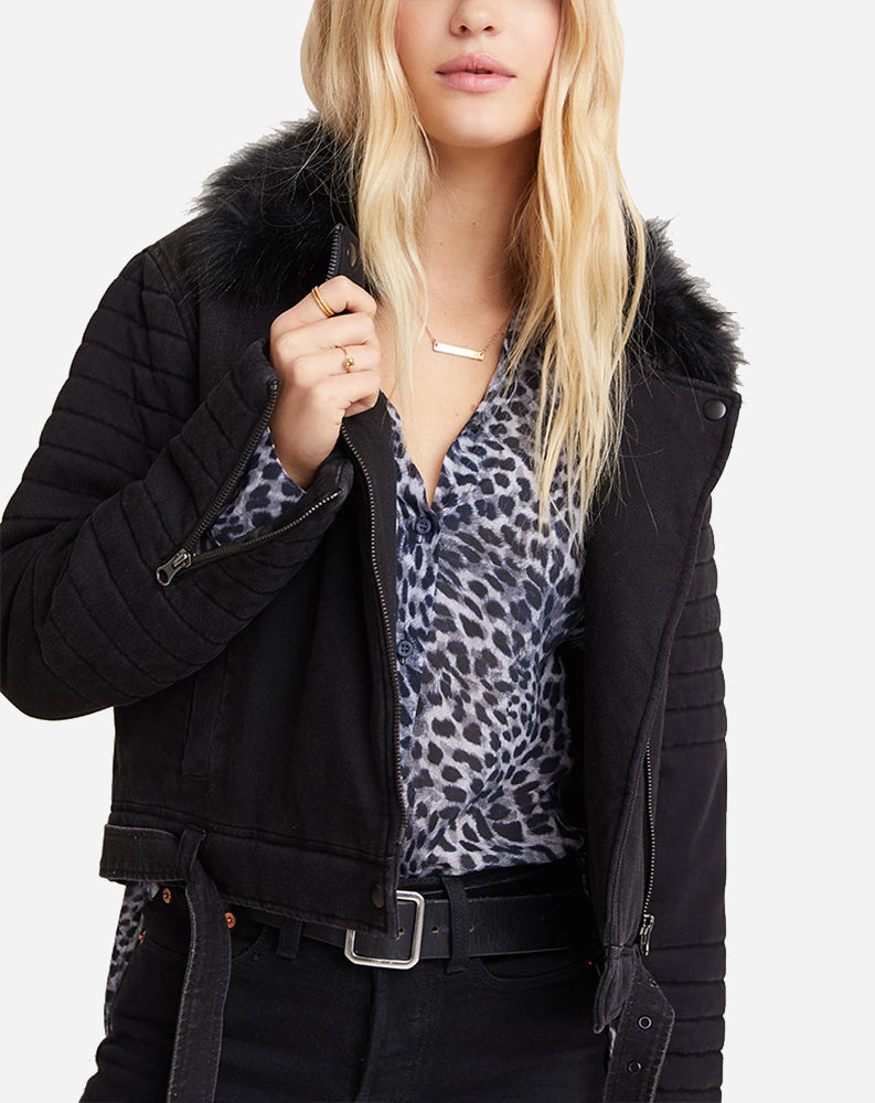 Puffer Moto with Removable Fur Collar in Black