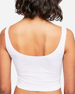 Scoop Neck Crop Tank in White