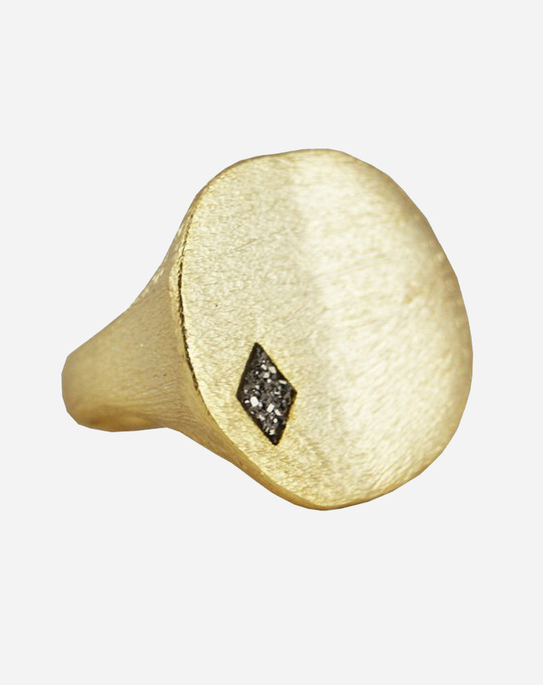 Round Cut Out Ring with Diamond Shape Stone in Gold & Titanium Druzy