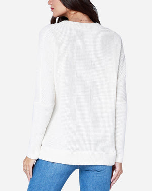 Deep V Long Sleeve Top in Ivory
