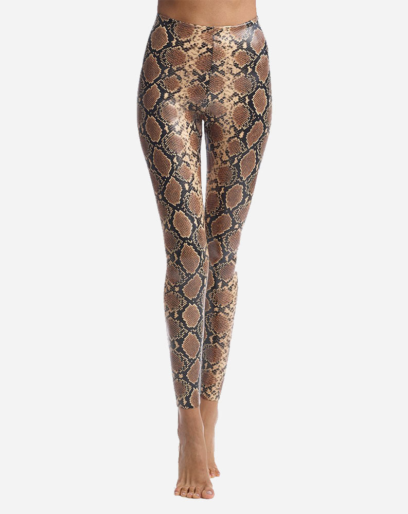 Faux Leather Animal Print Legging in Snake