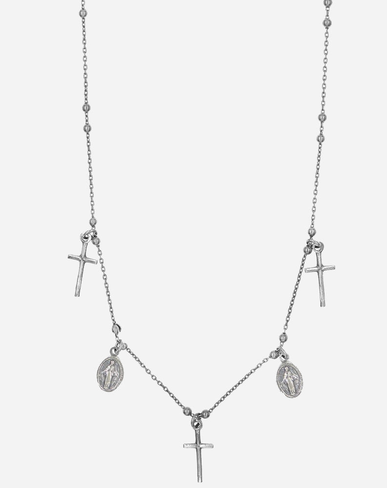 Miraculous Necklace with 5 Religious Charms Attached in Oxidized Silver