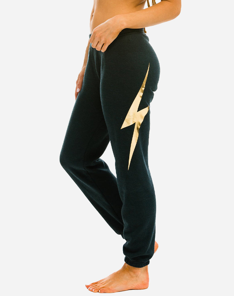 Bolt Metallic Women's Sweatpants in Charcoal/Metallic Gold