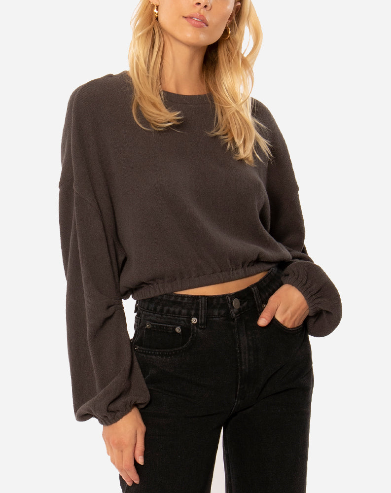 Melo Long Sleeve Knit Fleece Top in Charcoal