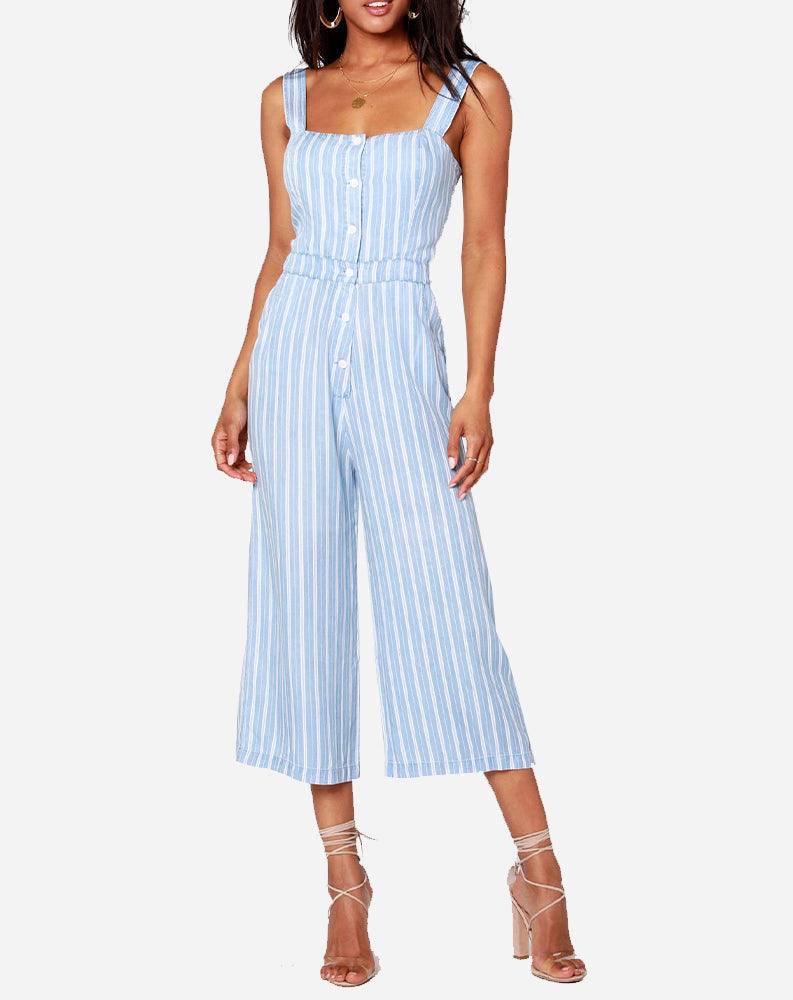 Crop Button Front Jumpsuit in Blue