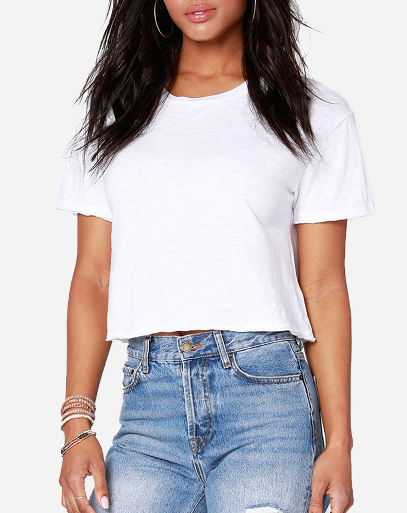 Bobi Cropped Tee in White