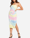 Strapless Slit Bodycon Midi Dress in Tie Dye