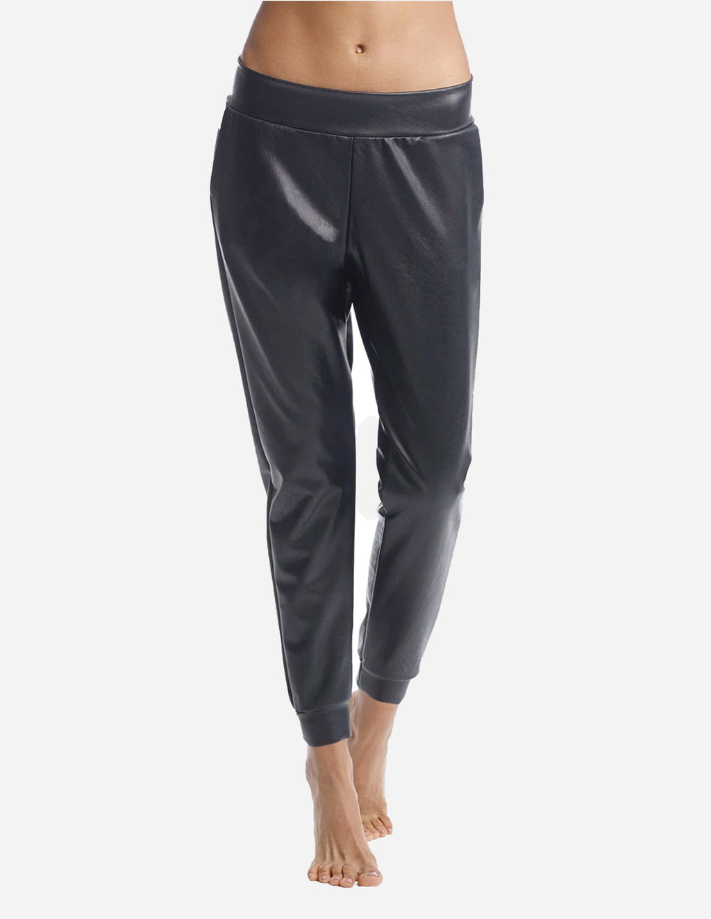 Faux Leather Jogger in Black