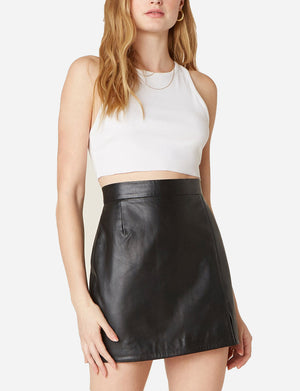 Gimme A Mini Leather Skirt in Black