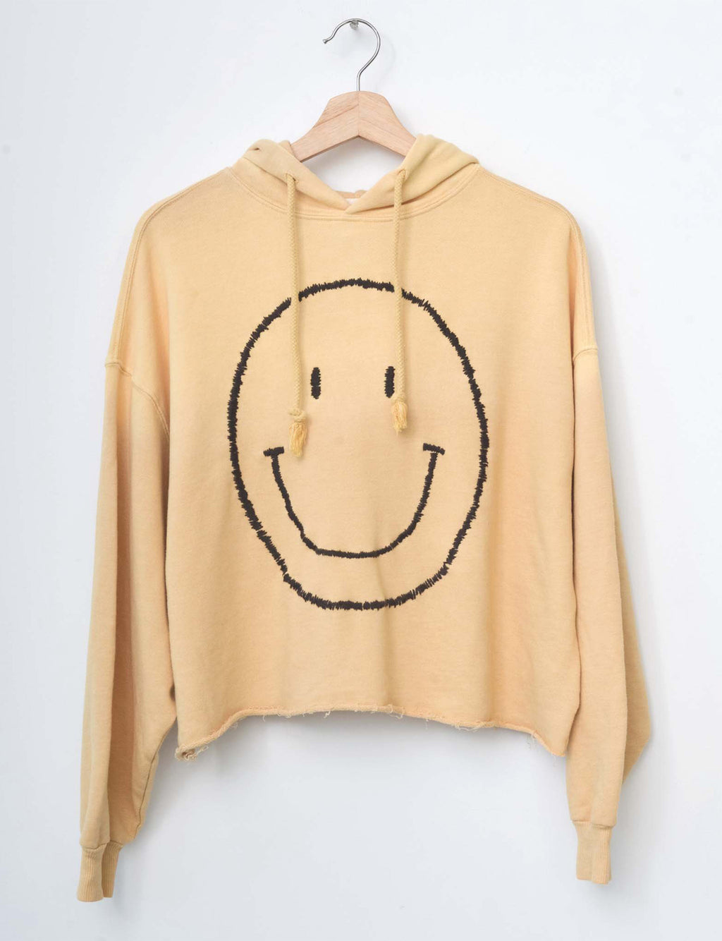 Be Happy Face Hoodie in Mellow Yellow Fade