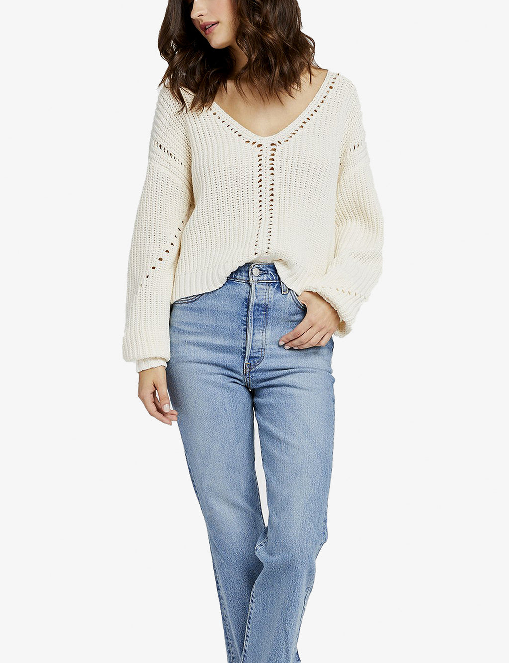Arizona V Neck Sweater in Ivory