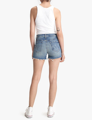 High Waisted Rascal Slit Fray Shorts in Night On A Shiny White Vespa