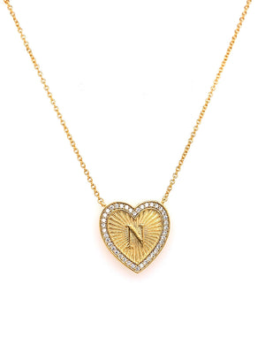 Tai Vintage Inspired Heart Initial Necklace in Gold