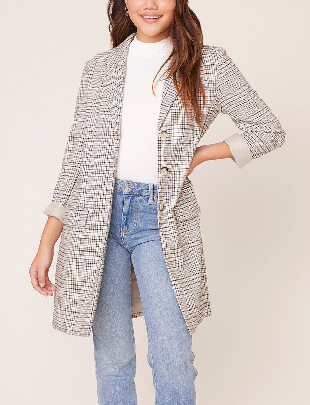 BB Dakota Plaid Reputation Boyfriend Coat in Light Taupe