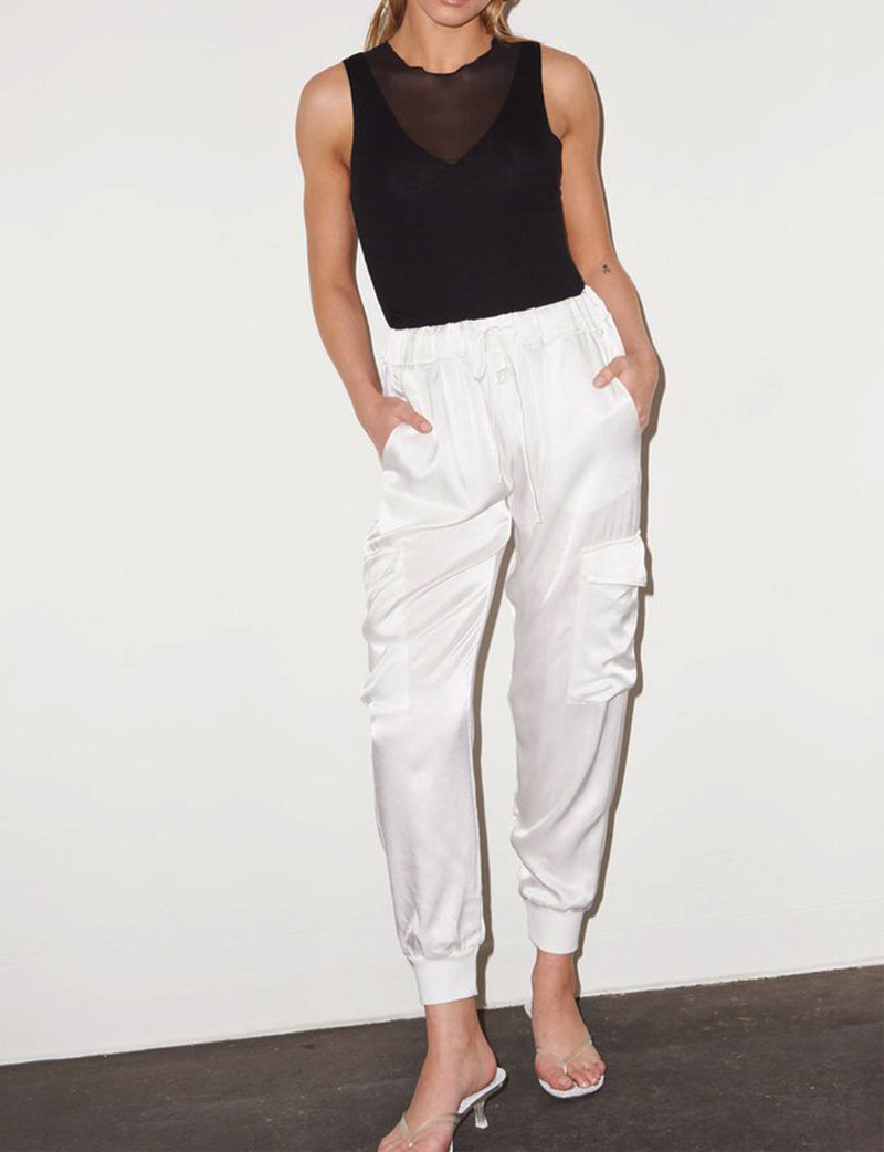 LNA Clothing Shine Cargo Pant in Ivory