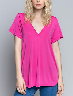 Pol Clothing V Neck Tee in Hot Pink