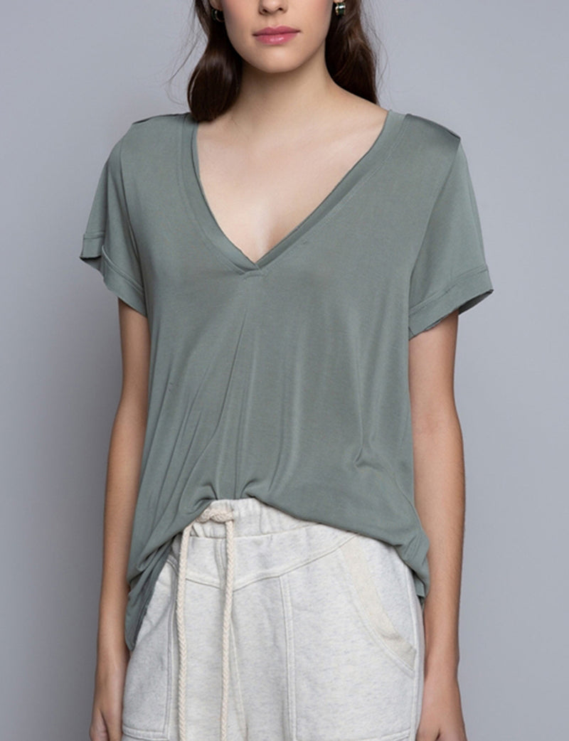 Pol Clothing V Neck Tee in Sage
