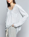 Pol Clothing Scoop Neck Oversize Sweater in Grey/White Stripe