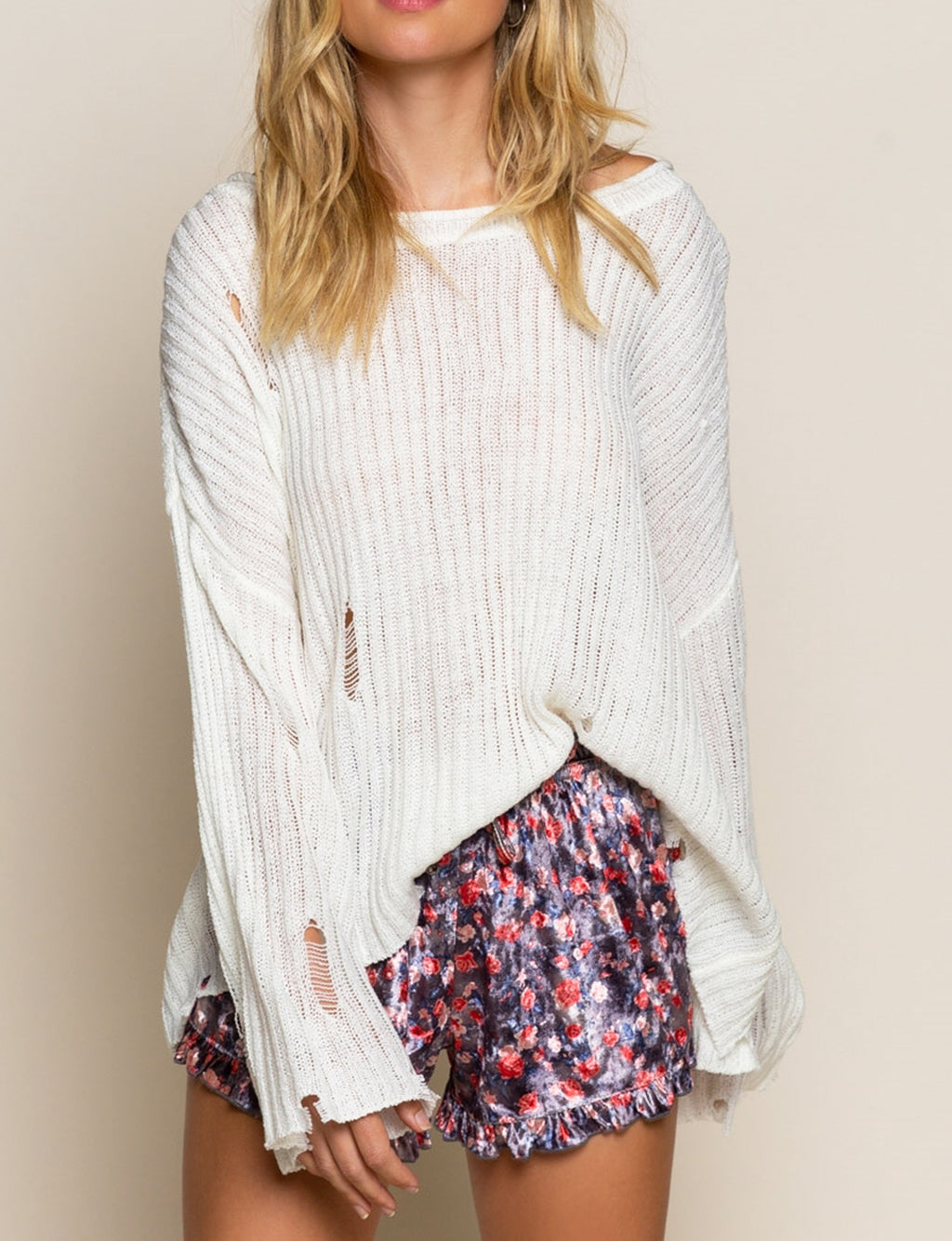 Pol Clothing Distressed Sweater in Cream